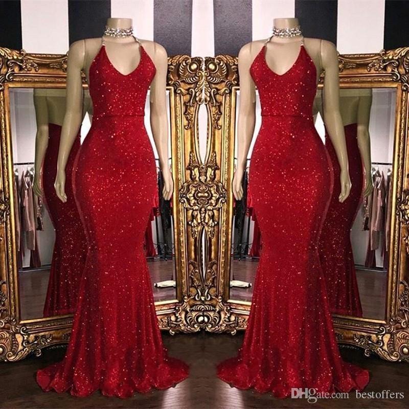 2020 새로운 반짝 레드 장식 조각 댄스 파티 드레스 고삐 인어 긴 댄스 파티 드레스 허리 아랍어 파티 드레스 BC1085
