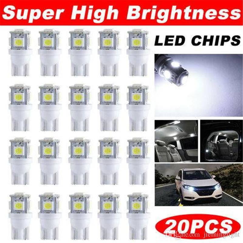 ABD Stok T10 5050 LED Ampuller 5-SMD W5W Kama Okuma Lambası 12V Araba İç Kubbe Lambası Nezaket Trunk Pano Park Ampüller