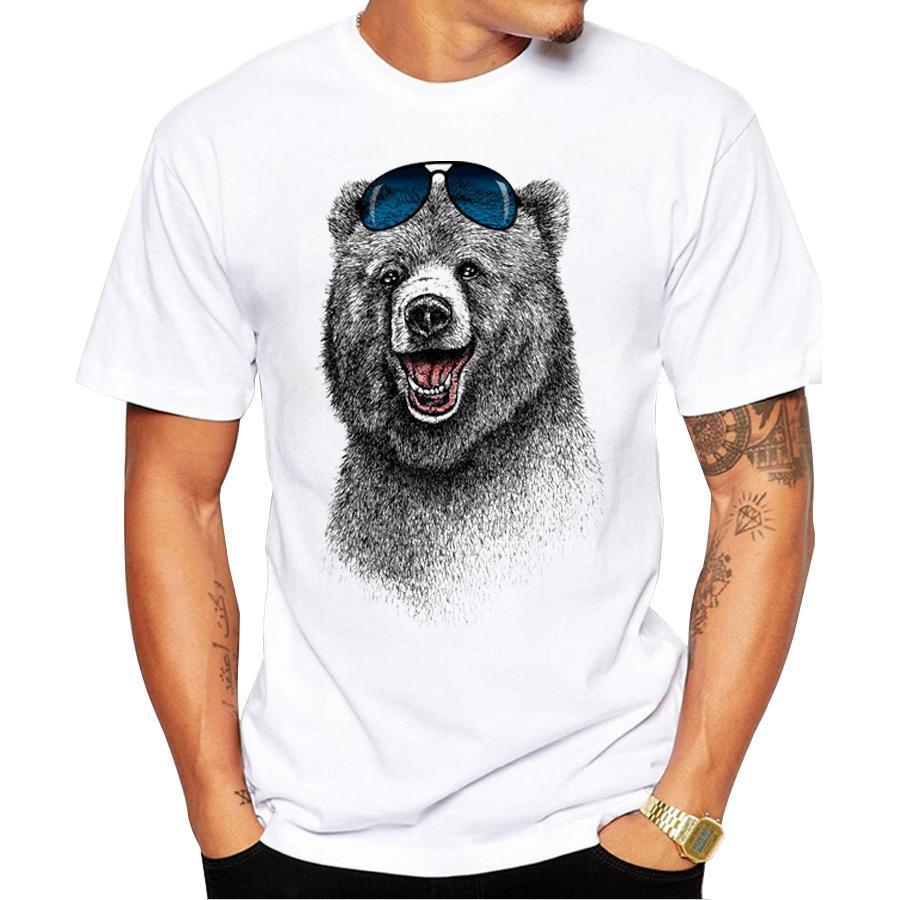 Самые дешевые моды Смеясь медведь Мужчины Футболка с коротким рукавом мужчин Happiest медведь ретро печатных футболки Повседневная Смешной Tops Designer