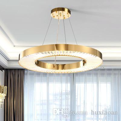 Circle LED Chandelier Lighting For Living Room Gold Modern Crystal Lamp Bedroom Polished Steel Ring Lustres De Cristal