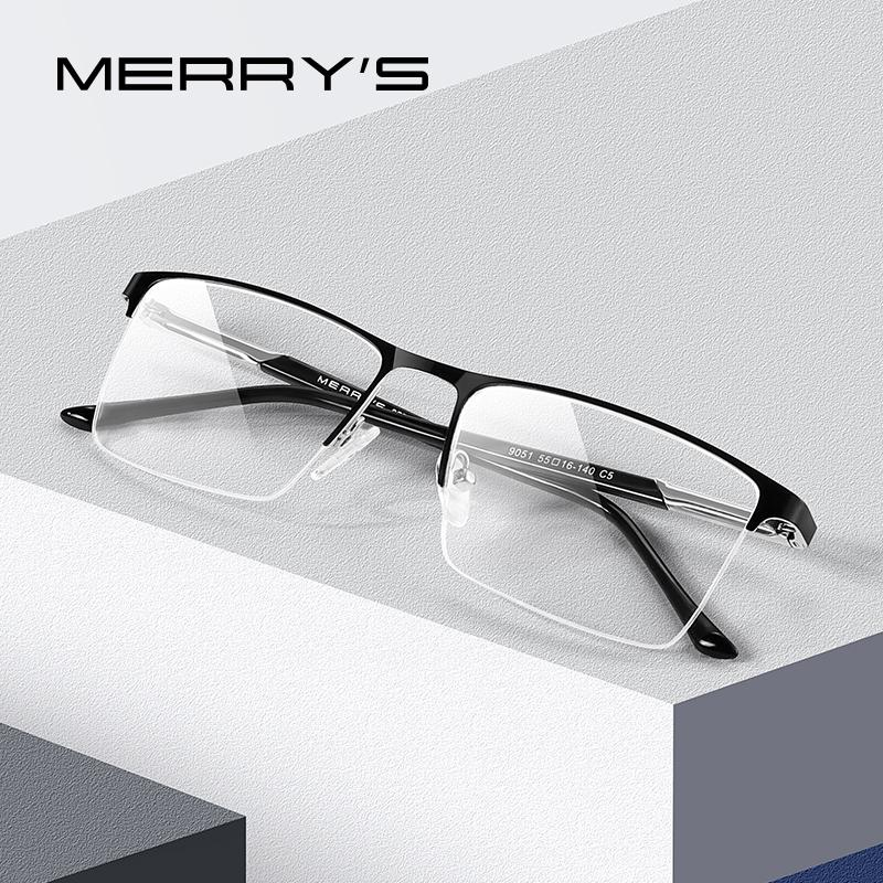 Men Classic Business Titanium Alloy Glasses Frames Gold Wire Square Half Frame