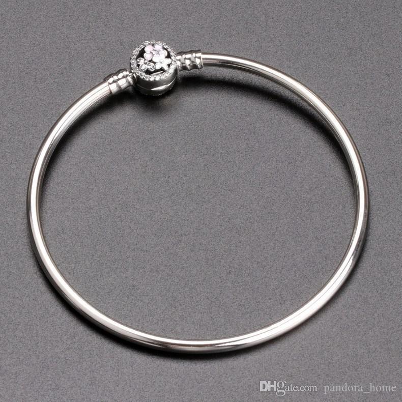 رومانسية زهرة الخرزة سوار مناسبة لباندورا 925 فضة CZ سيدة الماس مزاج عالية الجودة سوار أصلي صندوق مجموعة