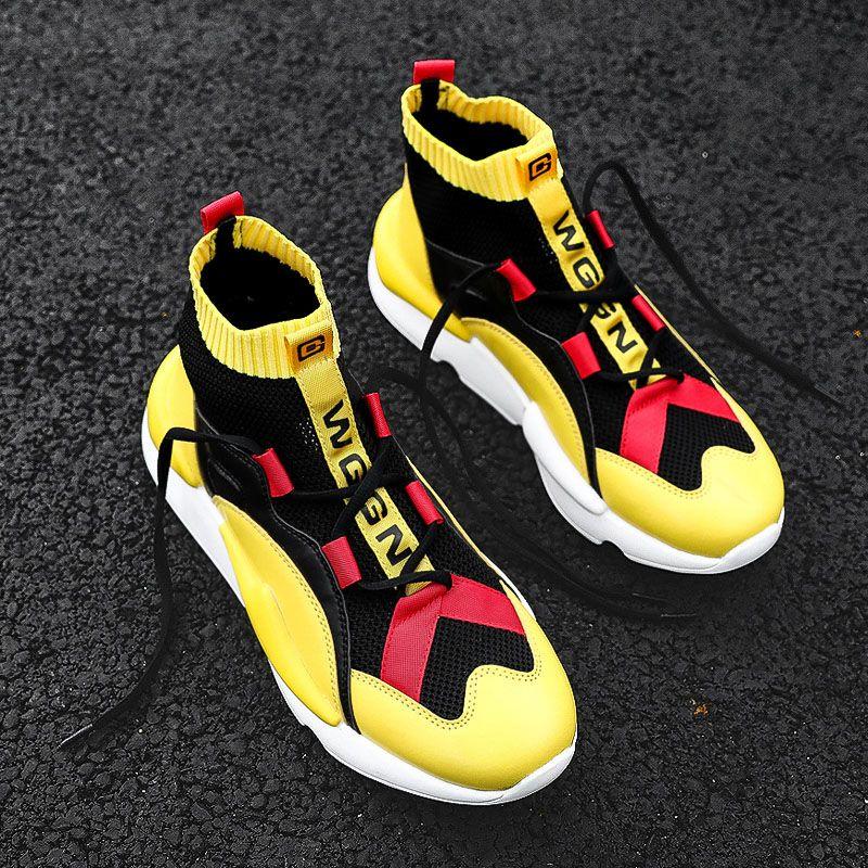 Çizmeler Erkek Çorap Ayakkabı Erkek Rahat Ayakkabılar Kış Marka Sneakers Yüksek Üst Erkekler Moda Comfortatble Adam Ayakkabı Damla Nakliye