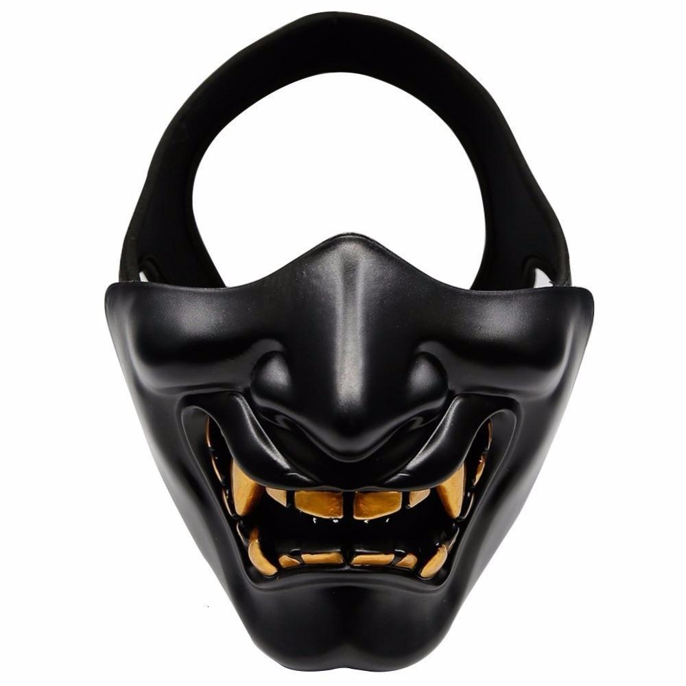 La mitad de Airsoft de la cara máscara de Halloween cosplay traje BB mal Demonio monstruo Máscaras Kabuki Samurai Hannya Oni medias de la cubierta Prajna SH190922