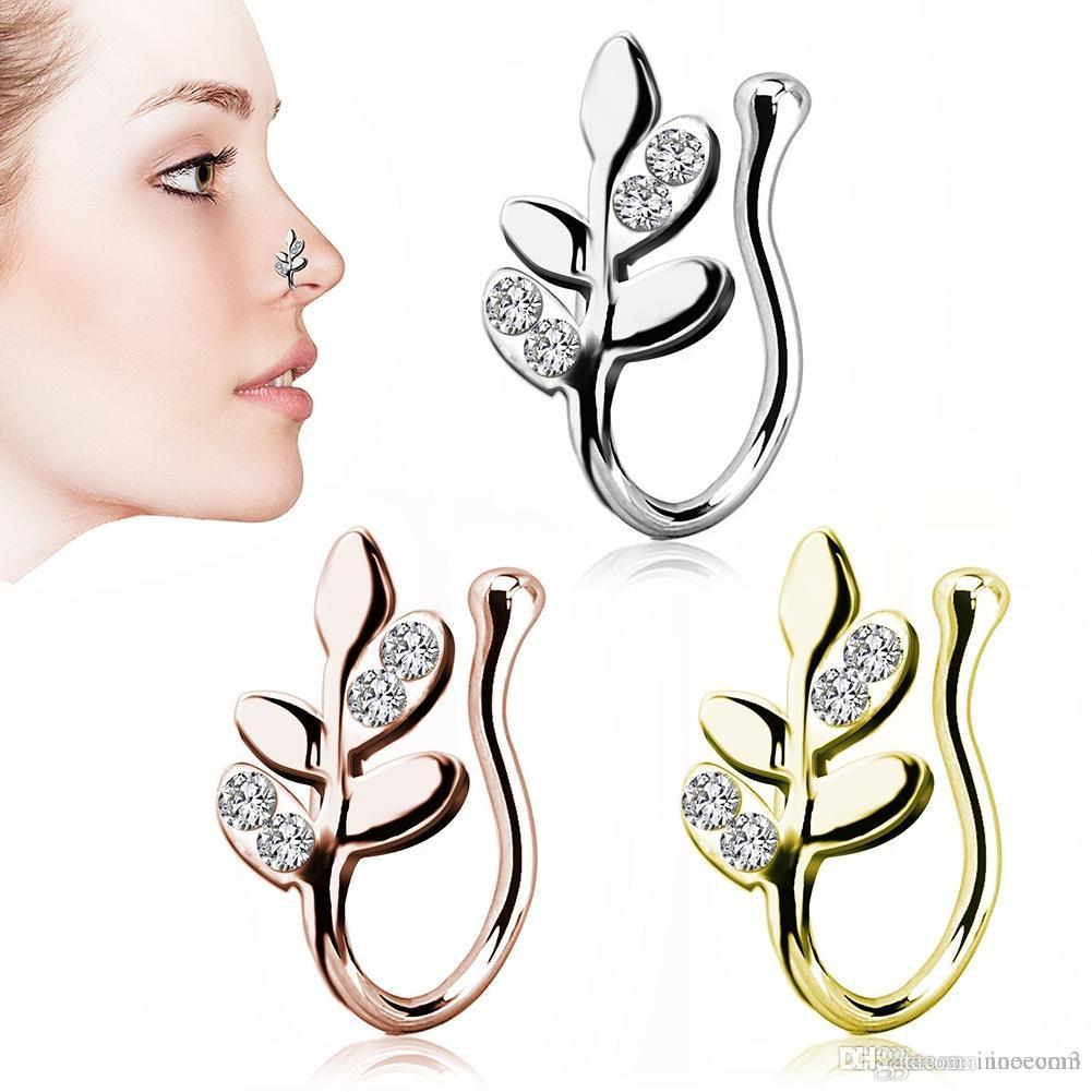 6PC Steel Leaf Faux Nose Rings Fake Septum Rings Hoop Nostril Piercing Fake Clip on Nose Rings Oreja Piercings Jewelry