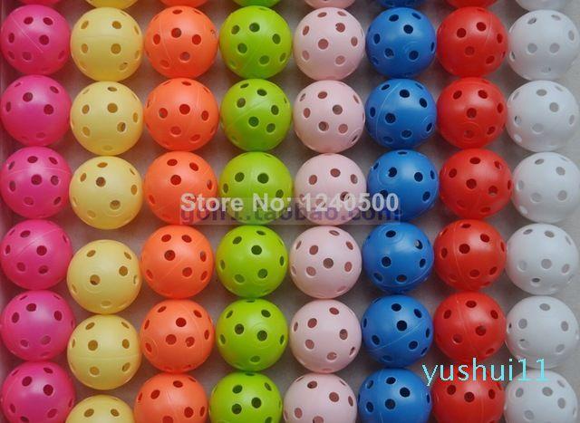 Commercio all'ingrosso- Spedizione gratuita Nuovo 80pcs 8 colori flusso d'aria golf pratica pallina plastica perforata