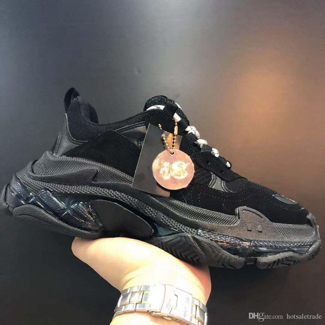 Triple S Designer Shoes Men Luxury Designers Sneaker Women Plataforma Cuero Casual Shoe Top Top Top Lace Up Sneakers Con Clear Sole New Trainers 34 Colores