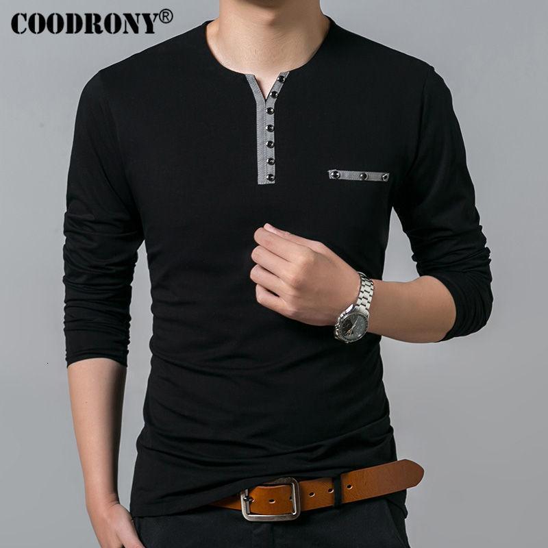 COODRONY coton T-shirt Hommes 2019 Nouveau long Automne Printemps T-shirt manches hommes Henry T-shirt col hommes Mode Casual Hauts 7617 V191109