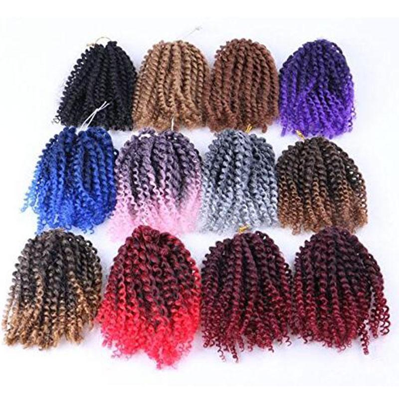 Afro rizado 3pcs Torsión Ombre de pelo trenzado de cabello / Paquete de 10 '' de ganchillo Trenzas sintético rizado Marlybob ganchillo postizos (T1B / púrpura)