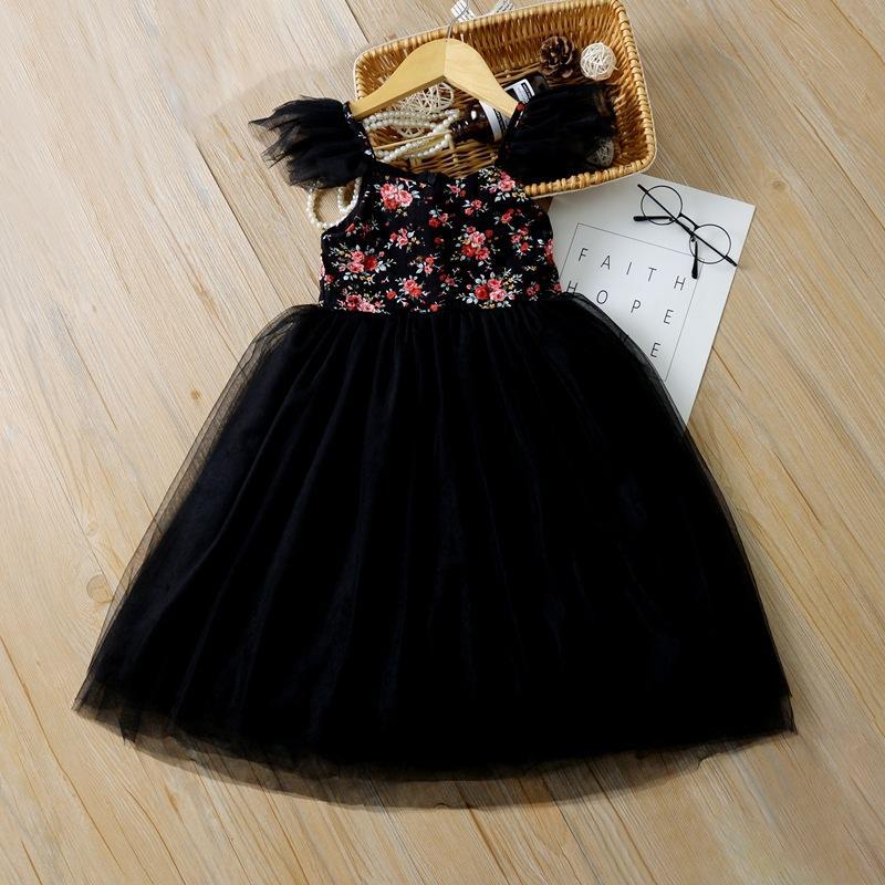 Новая принцесса девушка партии печатного платье марля девушка юбок свадебных длинные платья костюмов новая Европа и США лето 2020