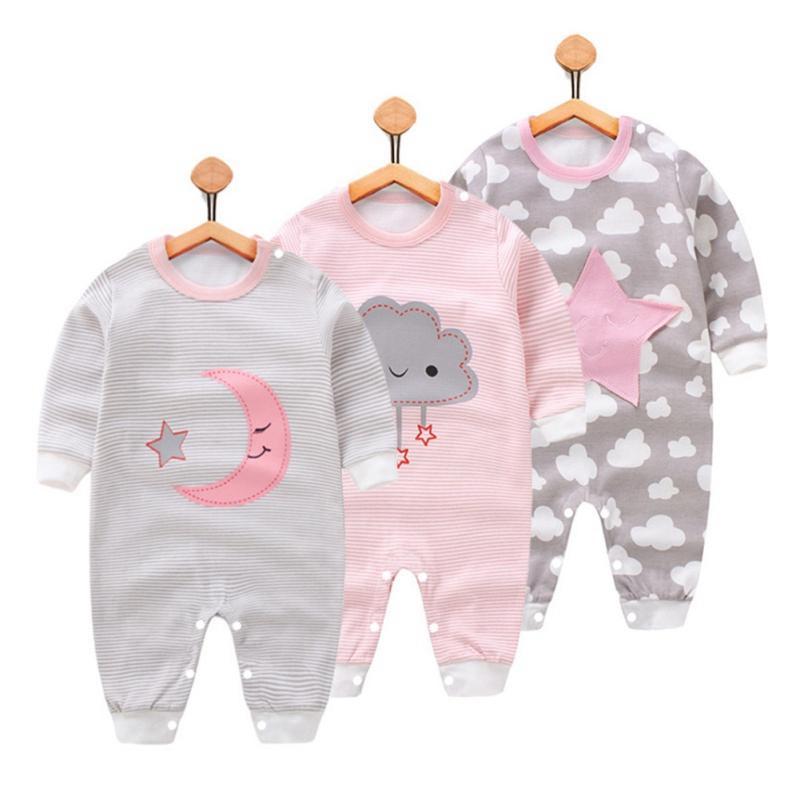Младенческая детская одежда полный рукав хлопок младенческая детская одежда комбинезон мультфильм костюм новорожденный мальчик девочка одежда 0-12 м