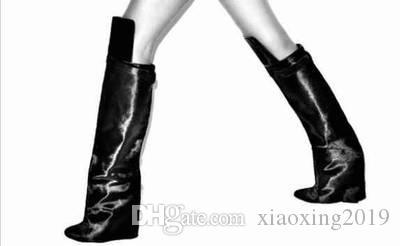 2018 yeni varış kadın diz yüksek gladyatör çizmeler seksi kama patik uyluk yüksek çizmeler motosiklet siyah deri çizmeler