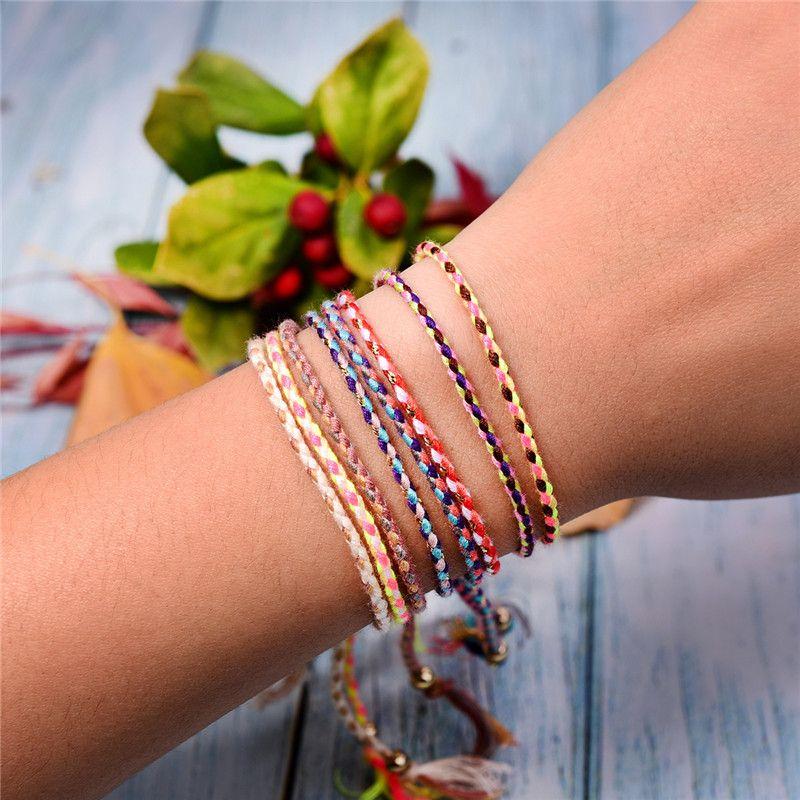 Mezcla de pulseras de la amistad boho color del arco iris de la trenza para la joyería de regalo de las mujeres hechas a mano de los brazaletes de cuerda