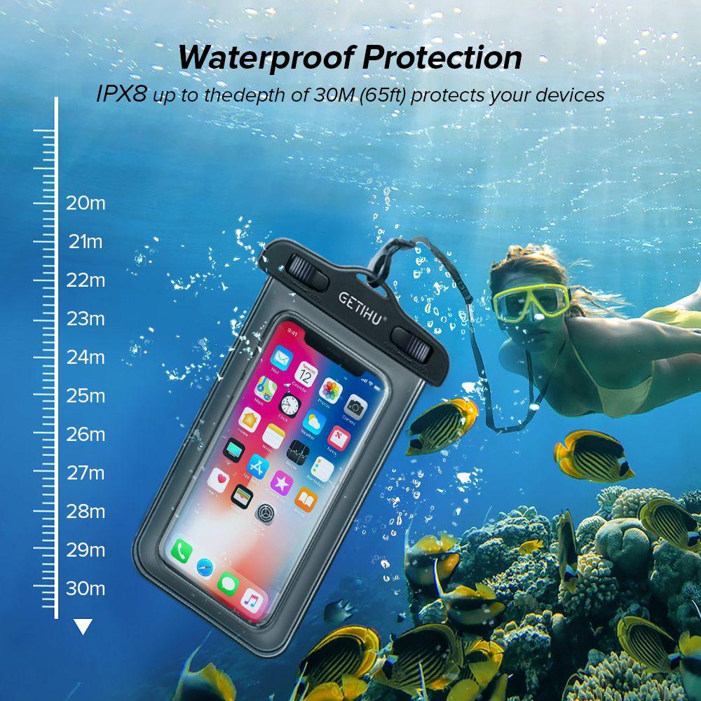 حقيبة الجاف العالمي الغوص السباحة للماء القضية لمدة 11 X XS MAX 8 7 6 ق 5 زائد غطاء الحقيبة حقيبة حالات مضادة للماء حالة الهاتف
