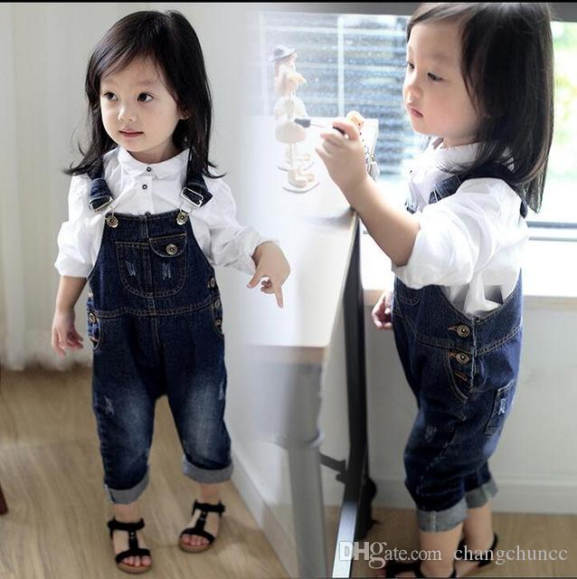 Spring Autumn Toddler Baby Strap Bib Denim Trousers Children Unisex Cotton Animal blue Suspenders Jeans Kids Overall Pants