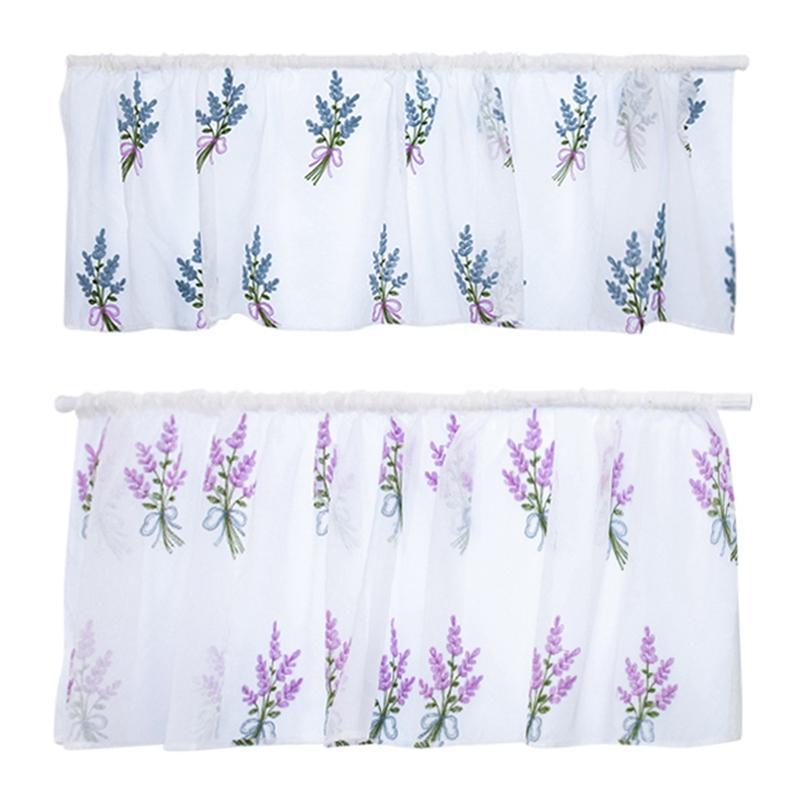 Broderie court jardin rideau ombre cuisine court rideau bouquet tige d'usure résistant à l'usure serviette