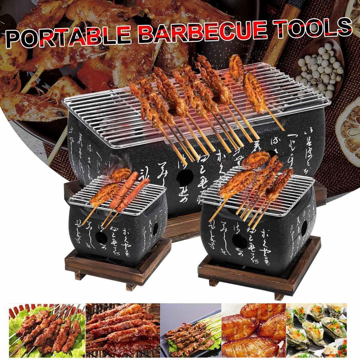 أدوات اليابانية الكورية BBQ الشواية فرن سبائك الألومنيوم شواية فحم المحمولة حزب الاكسسوارات المنزلية شوى S / M / L T200110