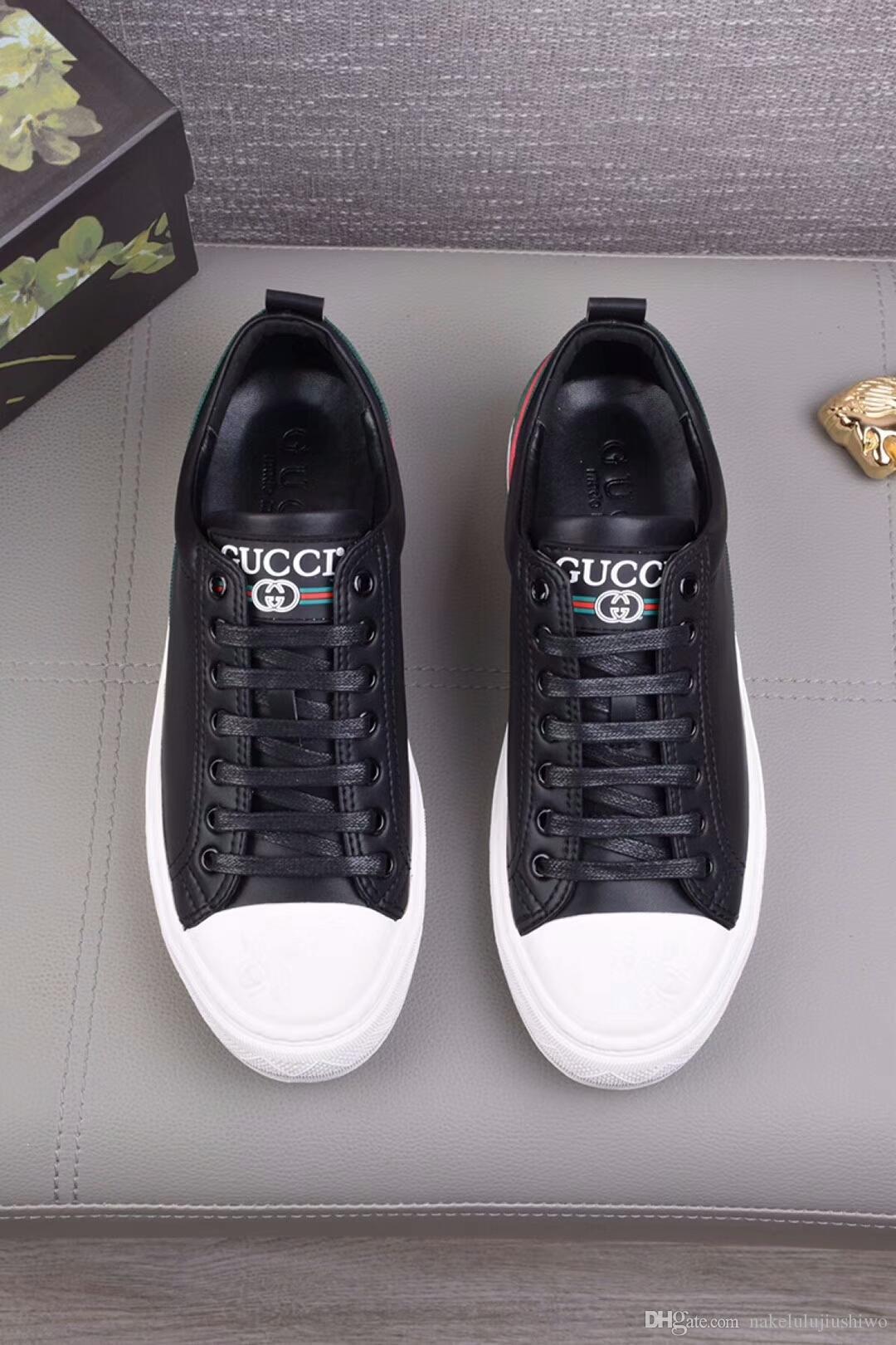 Высокое Качество Дизайнер Повседневная Обувь Из Натуральной Кожи Кроссовки Роскошные Мужские Женщины Модный Тренер Белая Кожа Туфли На Платформе Плоские Chaussure 7-48