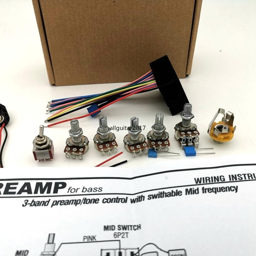 ديلوكس B3B الكهربائية باس النشطة لهجة PREAMP الأسلاك تسخير 3 فرقة PREAMP تحكم مع Swithabte منتصف تردد أسلاك باس أجزاء الغيتار