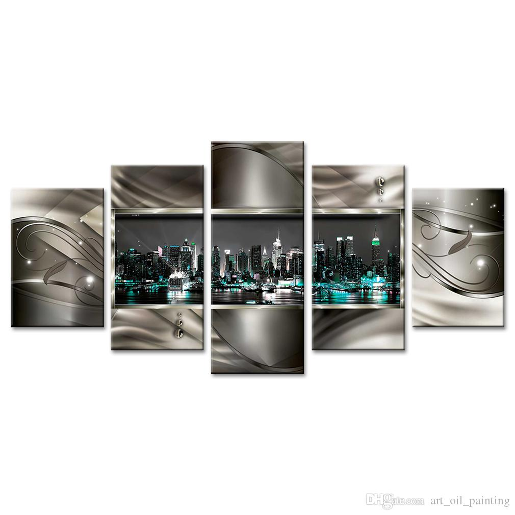 Unframed 5 Pieces Abstract City Landscape Canvas Wall Art Picture Prints on Canvas Painting Artworks for Living Room Home Decor