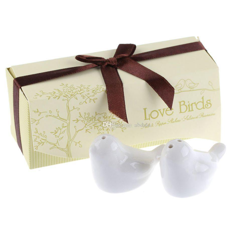Love Birds Salt 2pcs/lot Pepper Shaker Ceramic Spice Tools 12*4*5cm Shaker Pepper Ceramic Salt Wedding Favors Love Birds Salt DHL Shipping