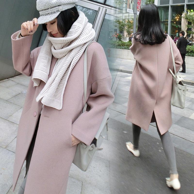 Yeni kış kumaş ceket kadınlar giyim uzun gevşek pembe yünlü kumaş profil