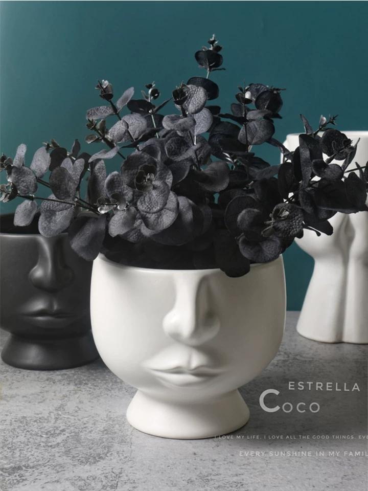 Forma volto moderno vaso di ceramica per la decorazione domestica tavolo vaso rosso bianco e nero colorsVA083