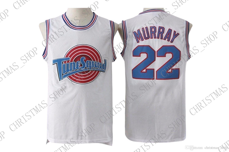 barato costume # 22 Bill Murray Space Jam Tune Esquadrão Basketball Jersey Branco blcak costurado Personalizar qualquer nome número HOMENS MULHERES JOVENS XS-5XL