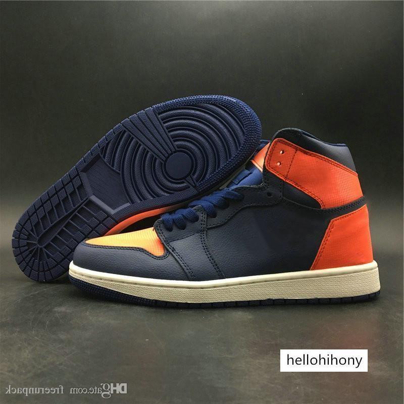 Le plus récent 1 High Premium Bleu Void Turf Voile d'Orange Man Chaussures de basket-Designer Formateurs Exclusive I Femme Mode meilleure qualité viennent avec la boîte
