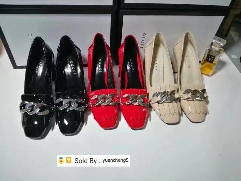 scarpe yuancheng5 superiore Lettera del nastro della nappa con tacco in pelle verniciata genuino di modo Donna grossa catena Heel Shoes 35-40 con la scatola
