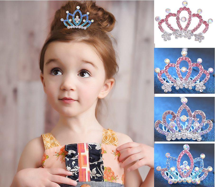 KIDS Crown Princess combs Korean Mini Twinkle Rhinestone Diamante Bridal Princess Crown Hair Comb Hair Clip Tuck Tiara Party Wedding 24color