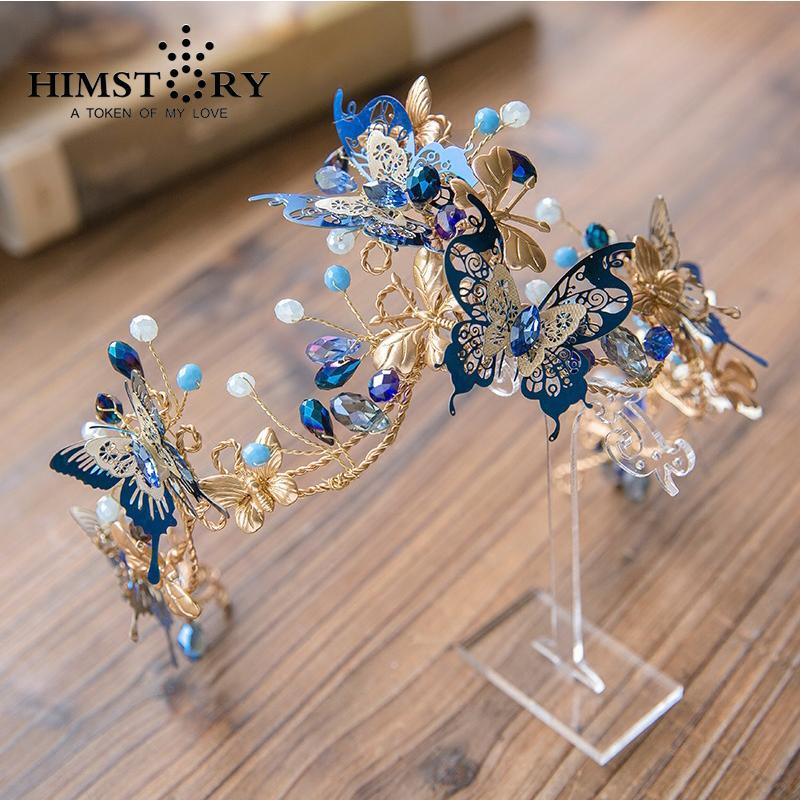 Nuovo arrivo disegni unici barocco blu farfalla corona copricapo principessa abito da sposa perline fatti a mano accessori per capelli J 190430