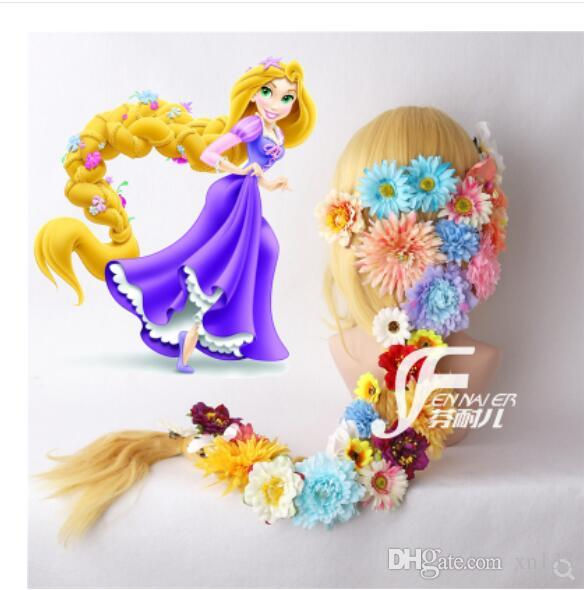 Peruca trançada longa da princesa mágica do cabelo / peruca dobro de Leppe com flores