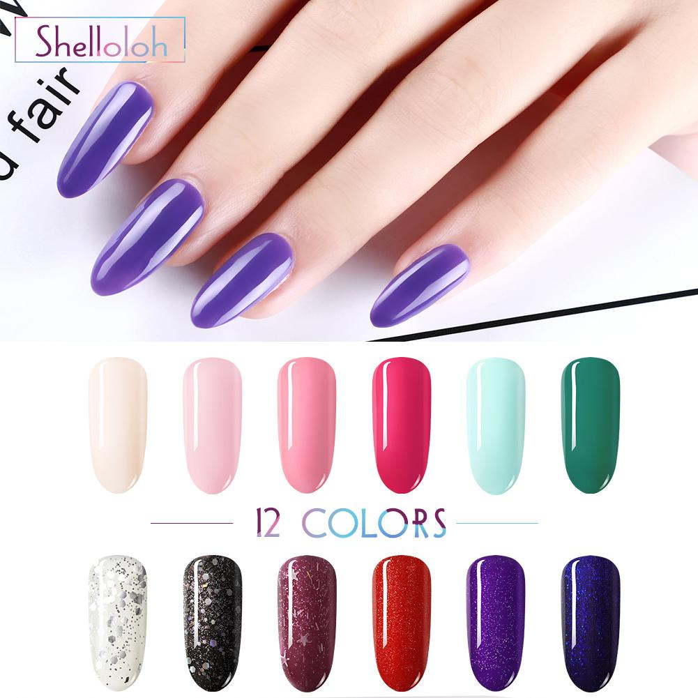 Shelloloh Gel de 10ml Nail Set polonais pour l'extension Nail Art Kit Gel UV LED acrylique Lampe design polonais manucure