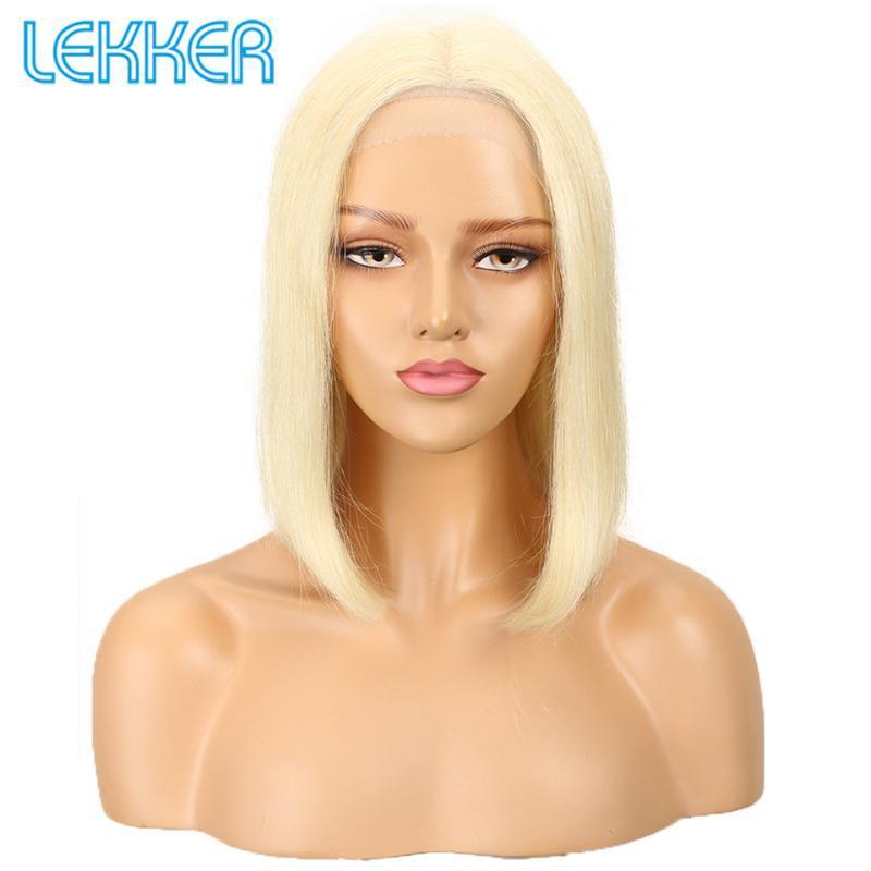 Lekker 613 Biondo Corti parrucca Bob peruviani Capelli lisci capelli umani parrucche del merletto parrucca bionda anteriore per Black Beauty