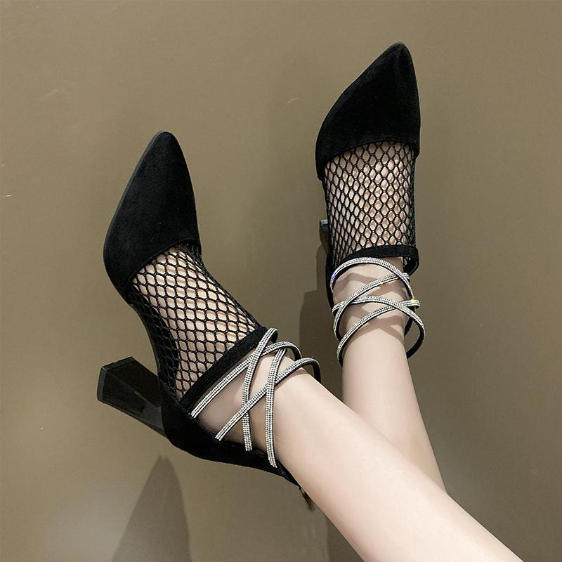 Mulher das senhoras do 2020 Spring Summer Shoes sapatos de salto alto Salto Sandália Para Mulheres Bege Heeled Sandals Bloco Lace Denim Mulheres