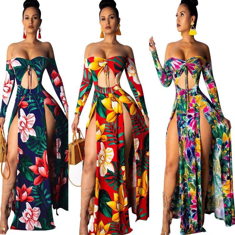 Mulheres Impresso Sexy Embrulhado Peito Com Cordão Correias Openwork Dividir Flor Vestido Longo Das Mulheres Vestido G3545