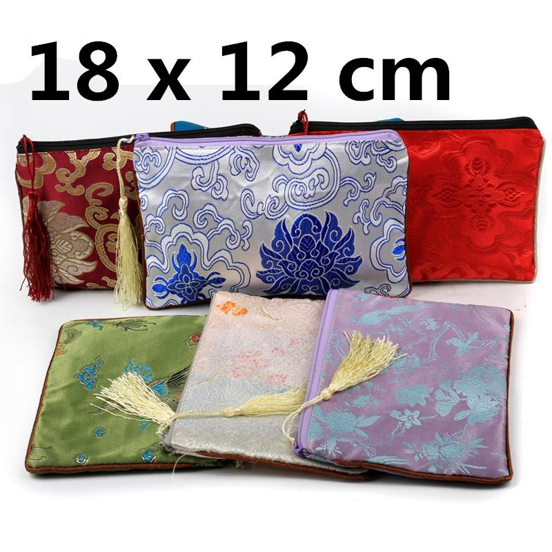 Tassel Rectangle Coin Purse Christmas Zipper Gift Bag Travel Jewelry Cosmetic Makeup Storage Pouch Women Silk Brocade Money Phone Wallet