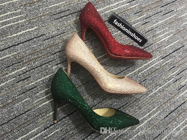 Créateur de luxe Fonds rouges Talons de 10cm Mariée Strass Diamond Diamond Glitters High Heeled Party Poms Prom Red Bas Pompes Chaussures de mariage 35-42