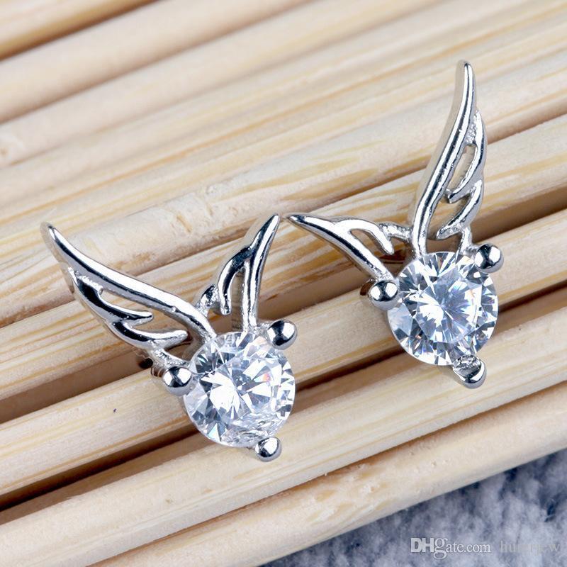 스터드 귀걸이 도매 925 스털링 실버 지르콘 천사 날개 모양의 귀 스터드 귀걸이