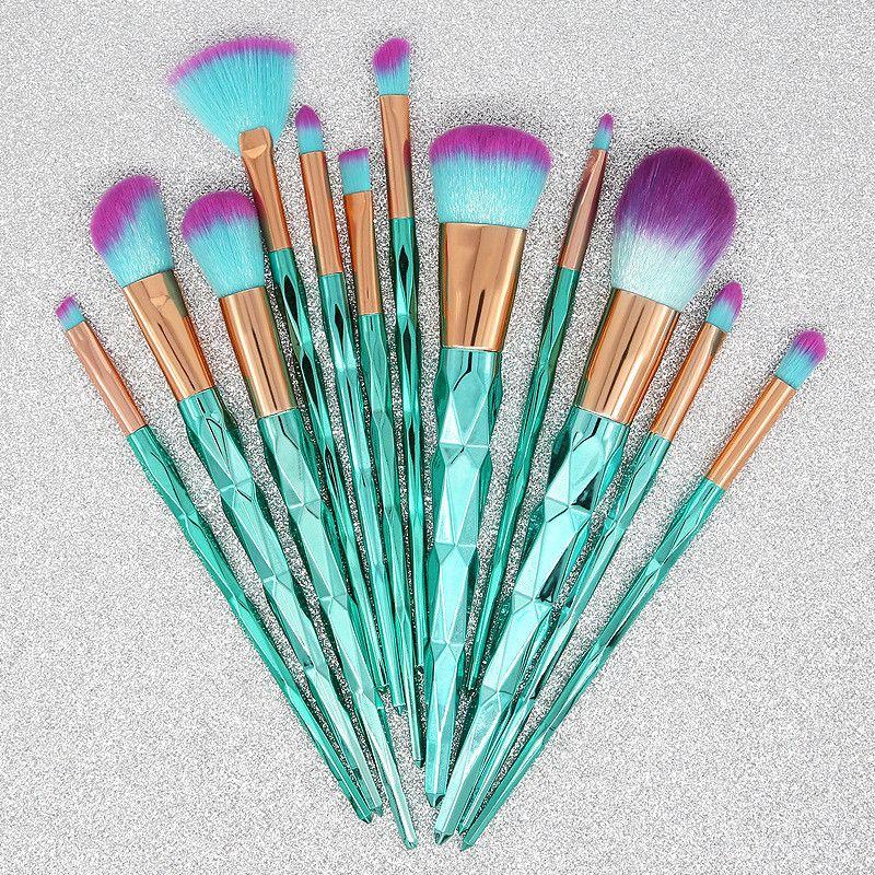 Blauer 12pcs Bürsten-Satz-Creme-Energie-Berufsverfassungs-Bürsten-Vielzweckschönheits-kosmetische Hauch-Reihe-Bürsten mit opp Beutel DHL