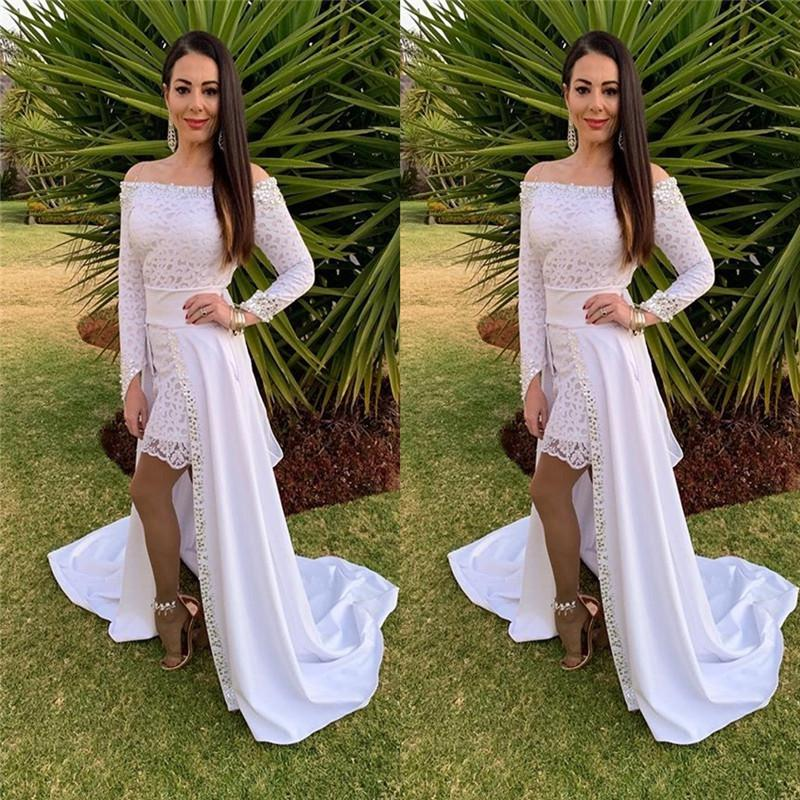 Off Shoulder Aline Prom Dresses Formal Dress with Sweep Satin Train and Long Sleeves Custom Made Evening Gown