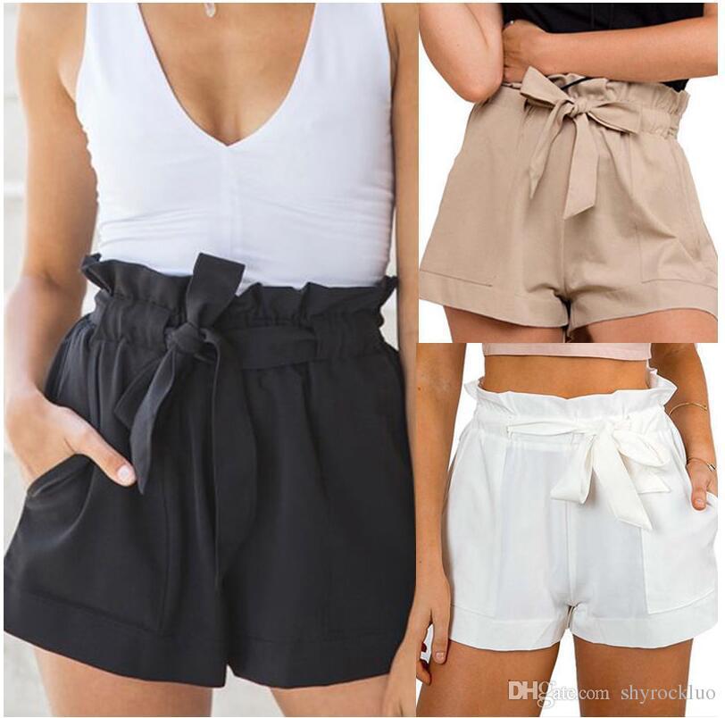 Pantalones cortos casuales de verano para mujer Playa de cintura alta Pantalones cortos de moda Banda para mujer con piernas anchas de ocio Pantalones anchos casuales Pantalones cortos Faldas