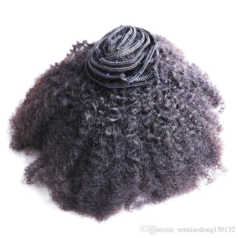 8pcs 인간의 머리카락 확장에서 아프리카 kinky 곱슬 클립 자연 검은 몽골 레미 헤어 클립 INS 100g 인간의 머리카락 확장에서 곱슬 클립