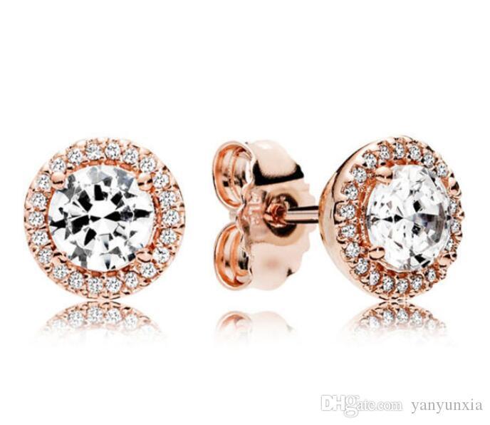الأصلي 925 فضي وردة الذهب الكلاسيكي أناقة واضحة وضوح الشمس وأقراط للمجوهرات النساء أزياء الزفاف