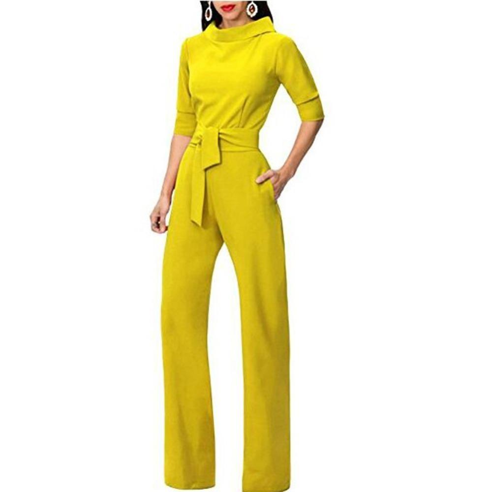 Tracksuit For Women Jumpsuit Elegant Rompers Turn Down Collar Wide Leg Pants Trousers Female Overalls Dungarees Ladies Pantsuit Y19051601