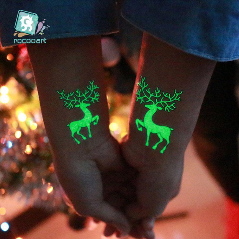 New Design Festa Decoração Luminosa Temporary Tattoo Stickers partido do carnaval de Natal de Ano Novo Decorações de Natal Decoração