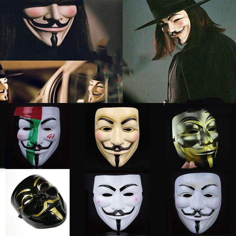 V wie Vendetta Maske Weiß Schwarz Gelb Maske Mit Eyeliner Nasenloch Anonym Guy Fawkes Kostüm für Erwachsene Halloween Party Maske DBC VT0771