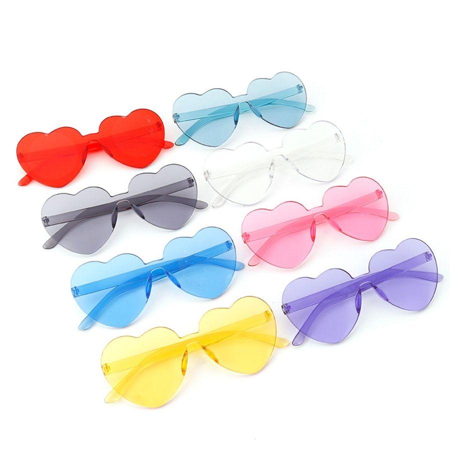 Moda Heart Shaped Cores sem aro dos óculos de sol Mulheres doces Lady Eyewear Amor Vintage Oversize Driving viagem Óculos TTA-1138