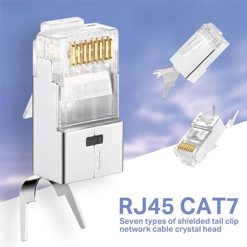 CAT6A CAT7 RJ45 Conector Cat 7 Cristal Plug Blindado FTP RJ45 Conectores Modular Cat7 Rede Cabo Ethernet